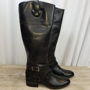 Vince Camuto Pazell Tall Riding Blk Leather Boots